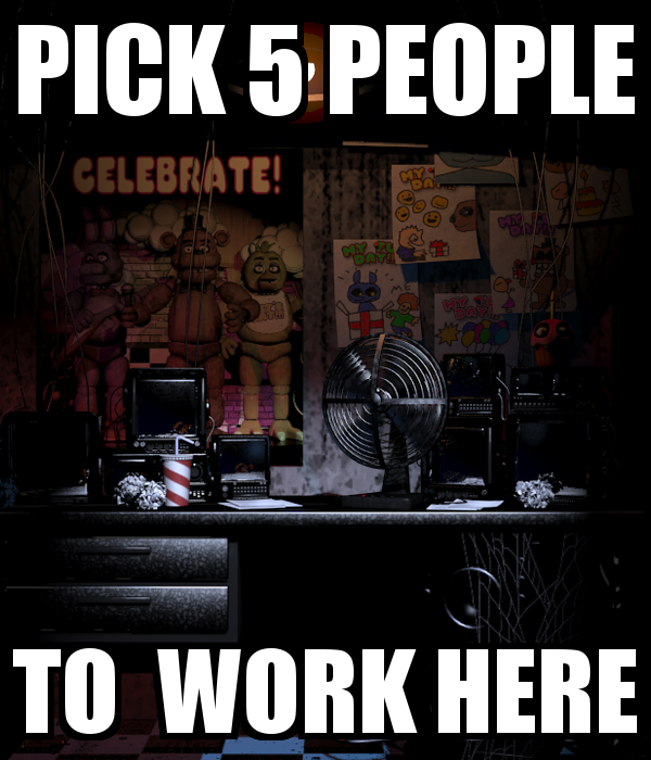 Pick 5 people to work here by MadStarling on DeviantArt