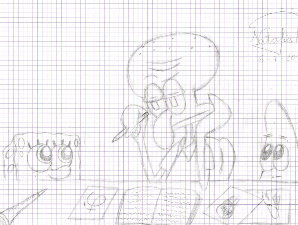 Squidward is studing Japanese by Dino-drawer