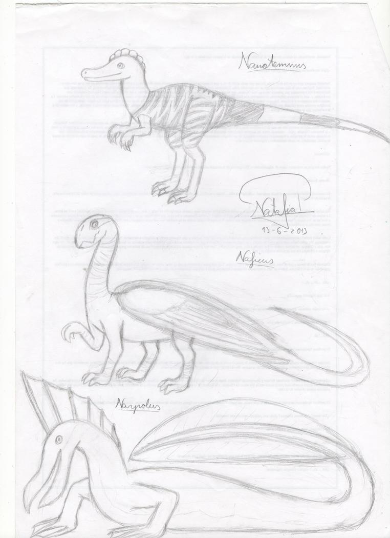 Nanotemnus, Naficus and Narpolus by Dino-drawer