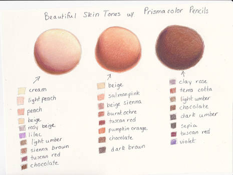 My Prismacolor Skin Tone Color Palette by ArtisticAdventures