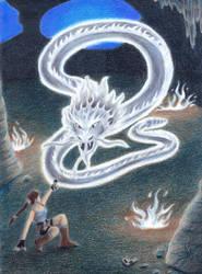 Lara Croft vs. Batir, the Ghostly Silver Serpent by ArtisticAdventures