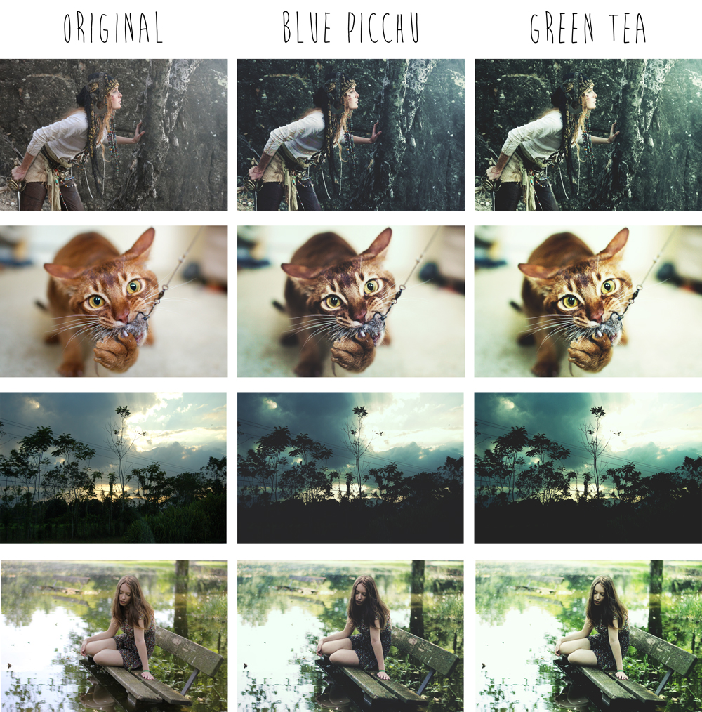 2 Photoshop actions - Blue Picchu and Green Tea by eulalievarenne