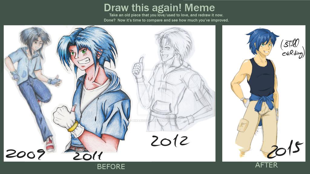 Draw this again meme: Human sonic by SamSilver-chan92