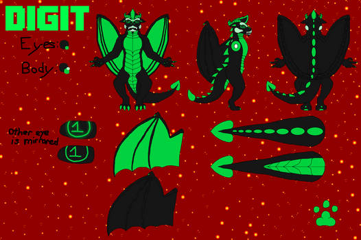 Dragon Digit Reference Sheet - SFW