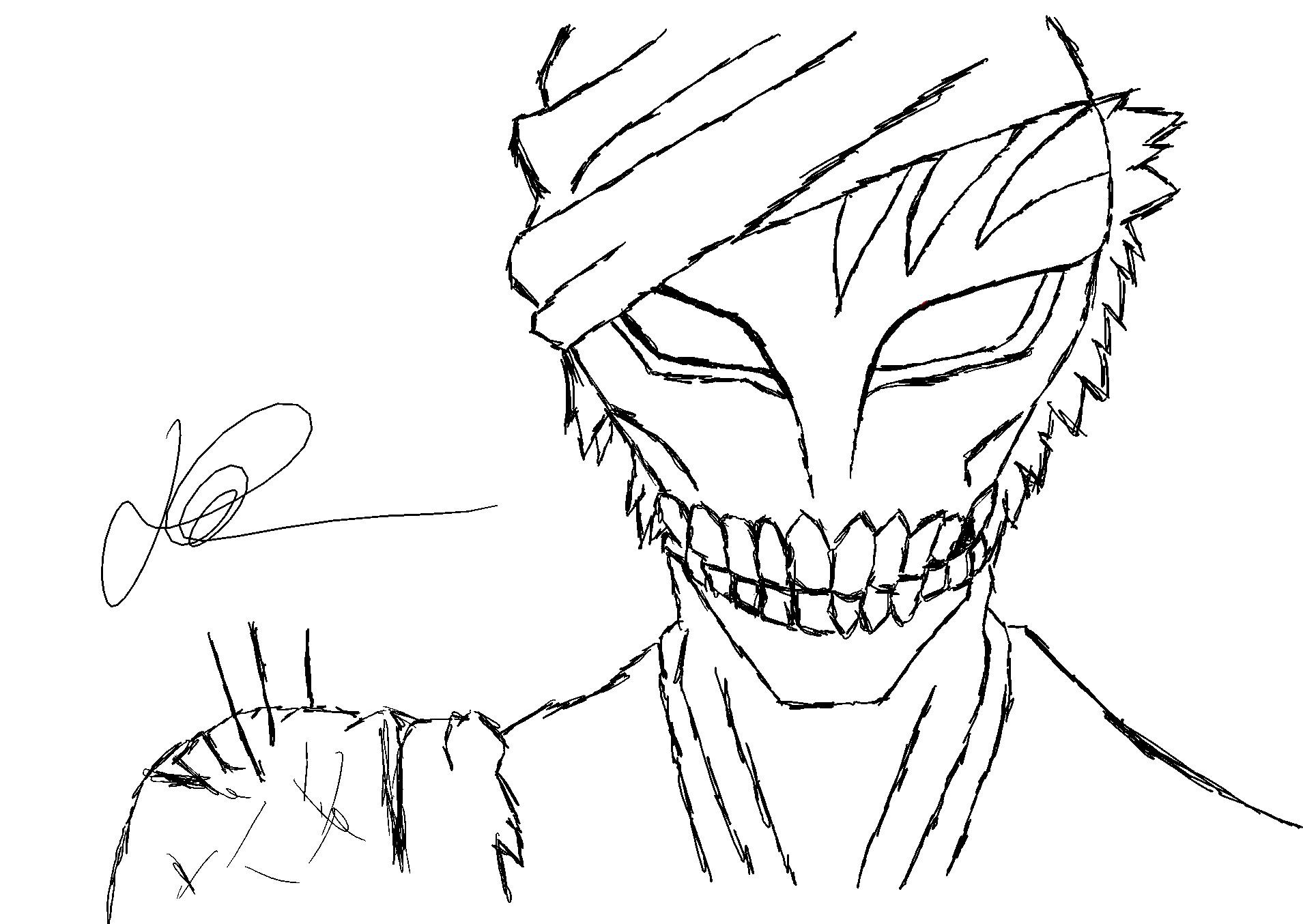 D Line Drawings Not Working : Hollow ichigo line work by kageryumusic on deviantart