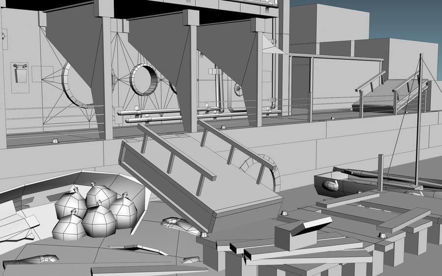 Dock Scene: Wireframe Shot by necrozim