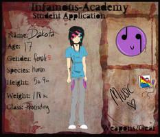 Dakota- Infamous Academy App. by nerinaTM