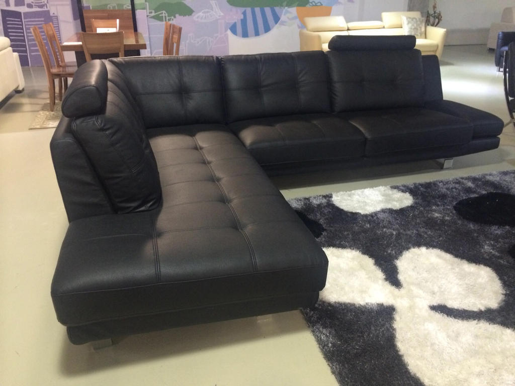 Black sectional with chaise stunning full size of for Black leather chaise sale
