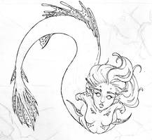 Line-art- Angler Mermaid by Rachael-Lee