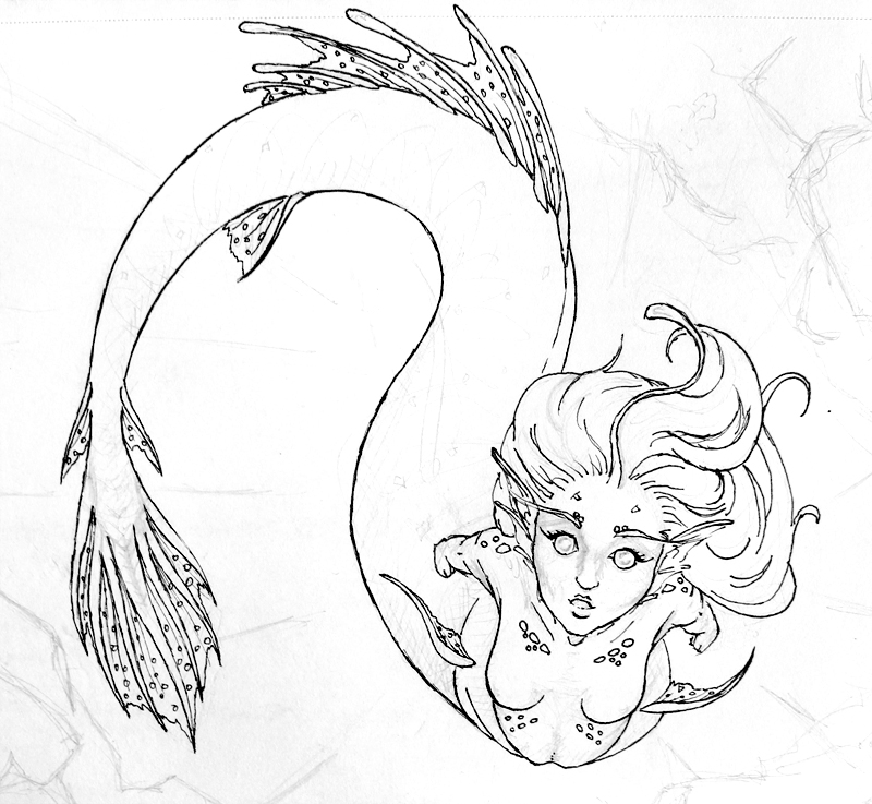 Line Art Mermaid : Line art angler mermaid by rachael lee on deviantart