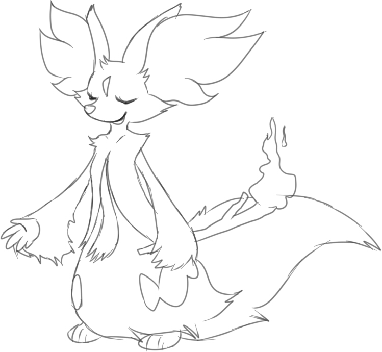 Pokemon Delfox Free Colouring Pages