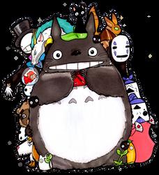 Totoro Shares Pocky by Yuki-Draws-the-Thing