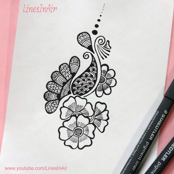 Easy henna mehndi design by linesinair on deviantart for Simple designs on paper