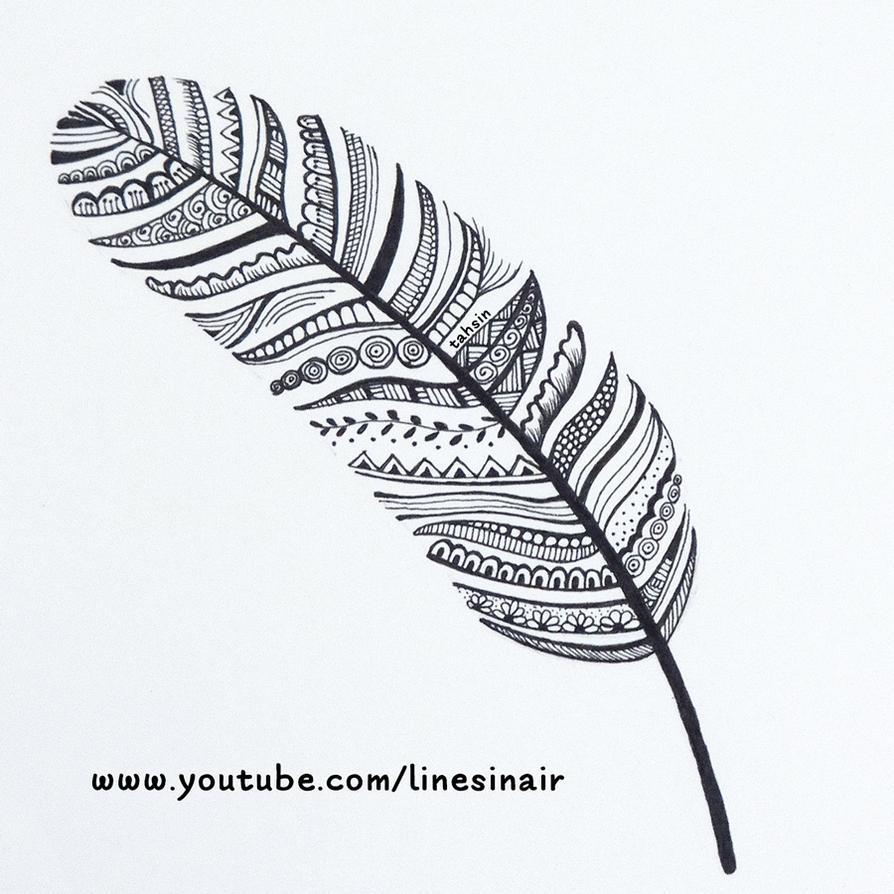 Line Art Zendoodle : Feather doodle zendoodle by linesinair on deviantart