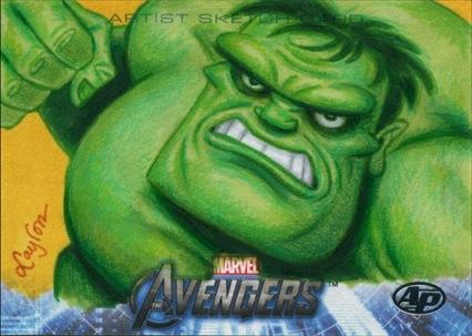 Upper Deck Avengers movie sketch card The Hulk AP2 by DeJarnette