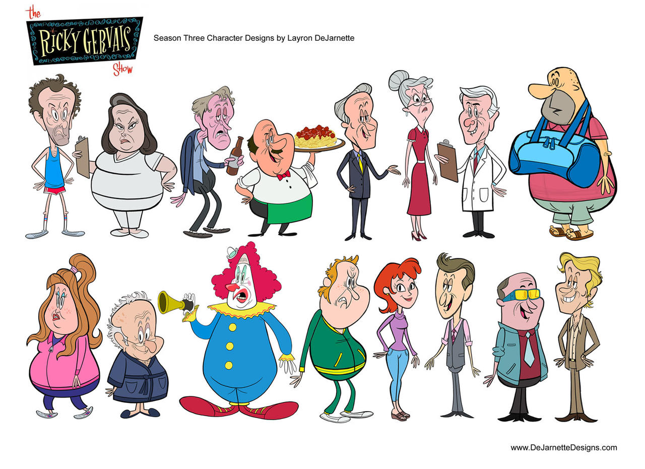 Character Design Exhibition : The rick gervais show season character design by