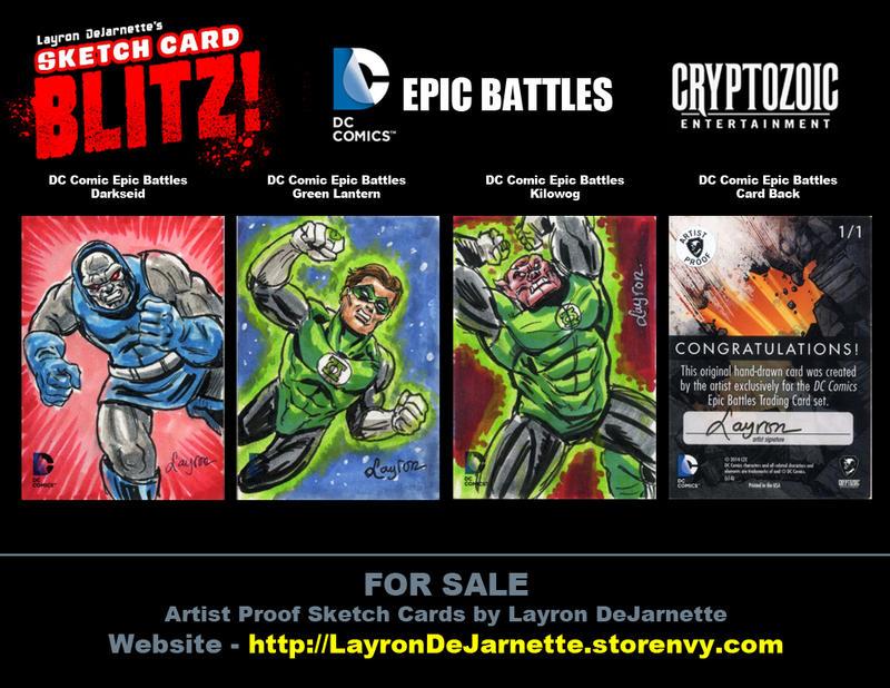 FOR SALE: DC Epic Battles Sketch Cards by DeJarnette