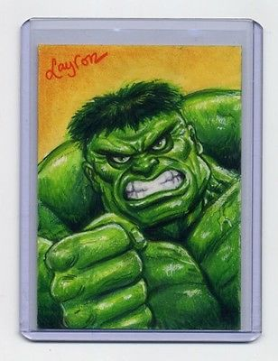 FOR SALE! Marvel's Hulk custom sketch card by DeJarnette
