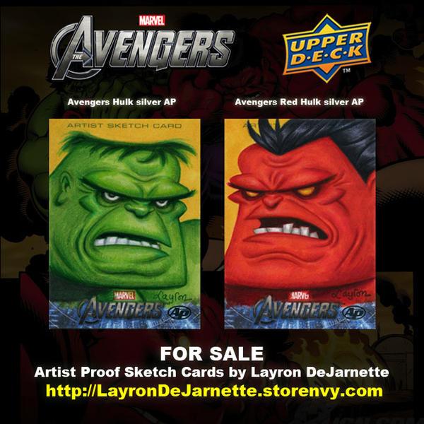 FOR SALE: Hulk Avengers Sketch Cards by DeJarnette