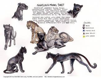 Nightling Model Sheet for Ratha Graphic Novel