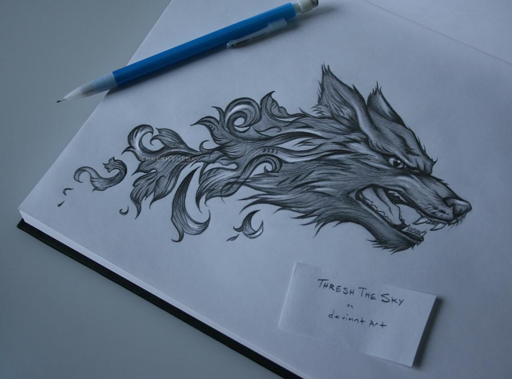 Baroque Wolf Tattoo by ThreshTheSky