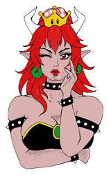 Black and red Bowsette