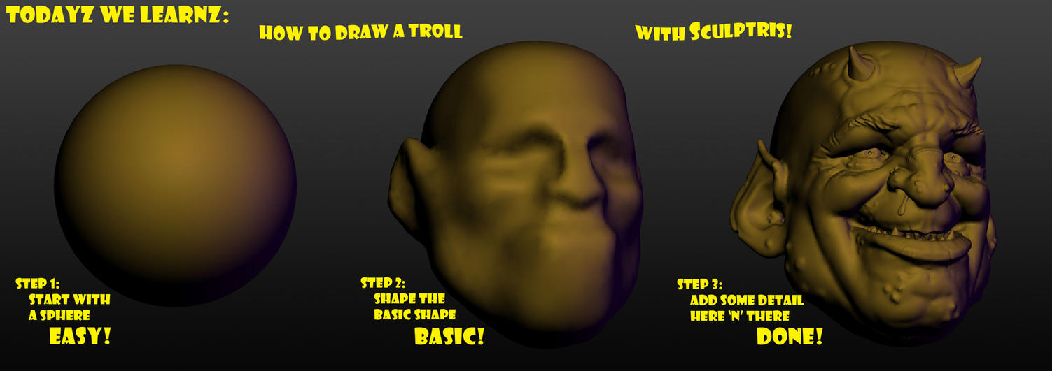 How To Draw A Troll  - Tutorial by J-M-D