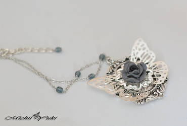 Butterfly Rose Necklace by michiiyuki
