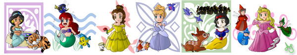 Chibi Princesses by Akei-Tyrian