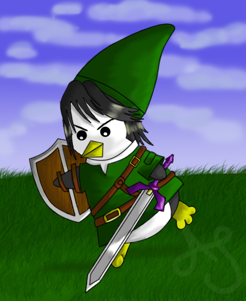 LoZ Penguins- Link by Akei-Tyrian