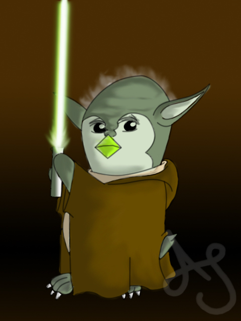 Star Wars Penguins- Yoda by Akei-Tyrian