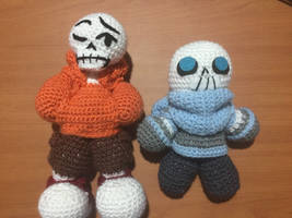 Crocheted font brothers