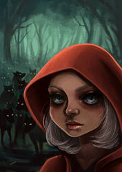 red hiding hood and her wolfes