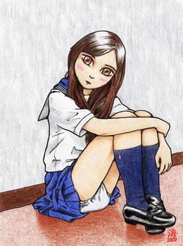 Schoolgirl Sitting in Hall