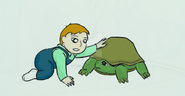 Baby vs. turtle by samuraivalerie