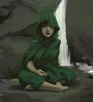 Waterfall-monk by flurrys-art