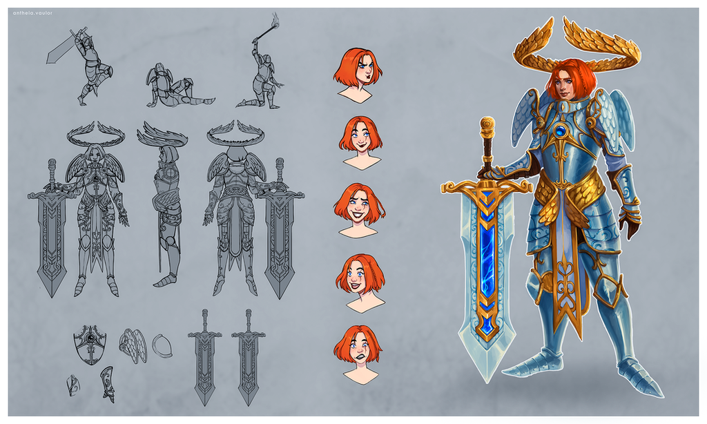 Paladin warrior of the light concept art by AntheiaVaulor