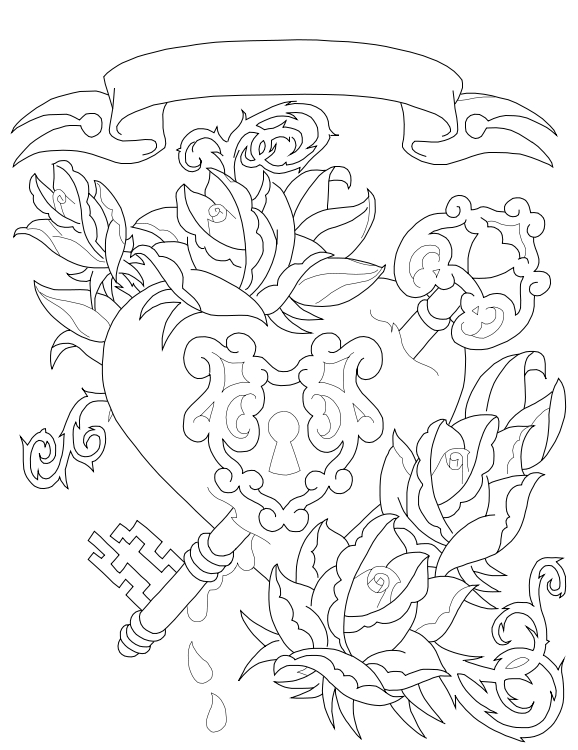 Heart lock drawing coloring pages for Key coloring pages