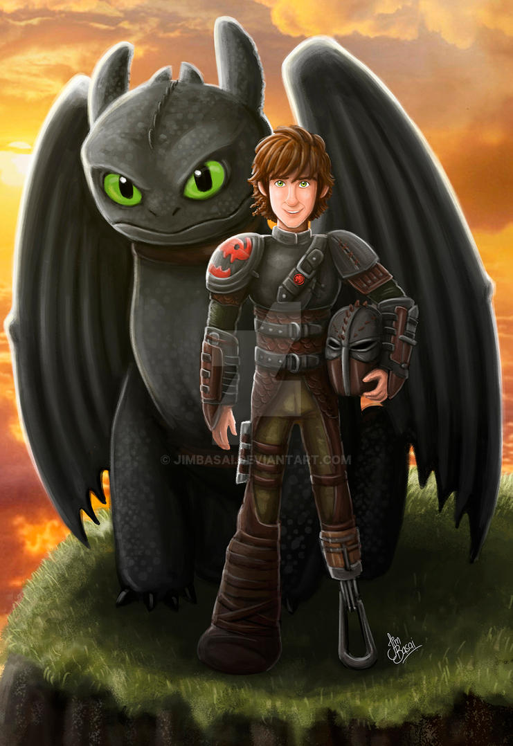 Hiccup and  Toothless. How To Train Your Dragon by JimBasai