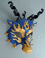 Blue-Gold Asian Dragon Mask by merimask