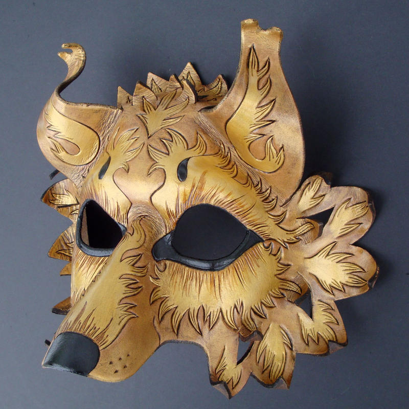 Golden Wolf...leather mask by merimask