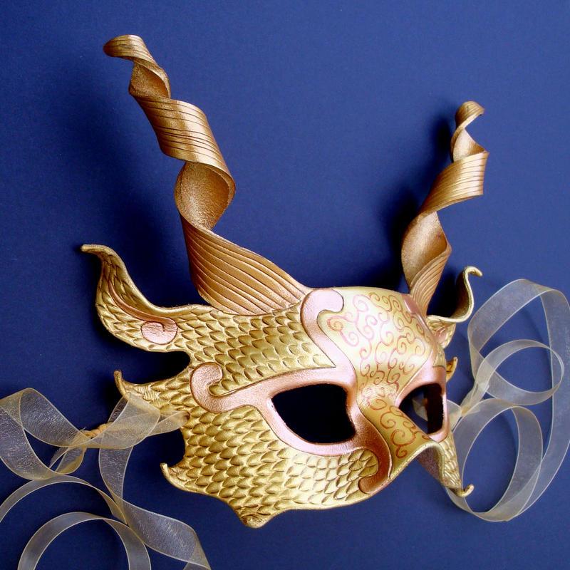 Gold Dragon Half Mask by merimask