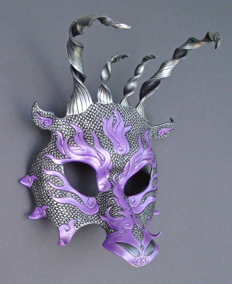 Purple-Hematite Leather Dragon by merimask