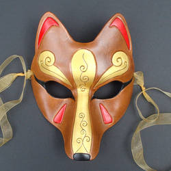 New Brown Kitsune Mask by merimask
