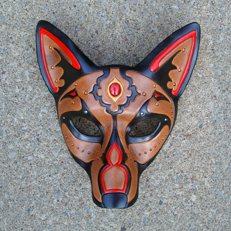 Red Jeweled Wolf Mask by merimask