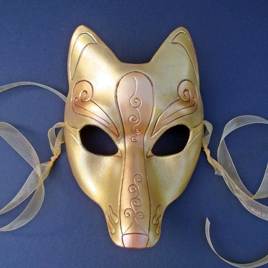 Gold Leather Kitsune Mask by merimask