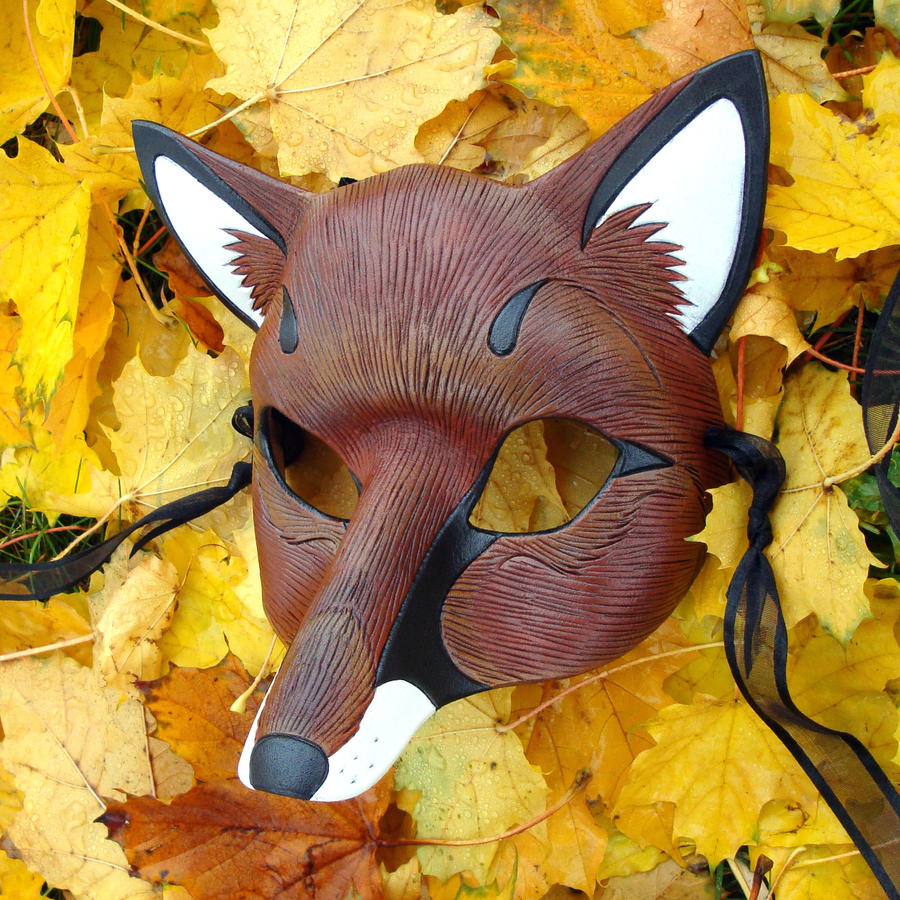 Red Fox Leather Mask by merimask