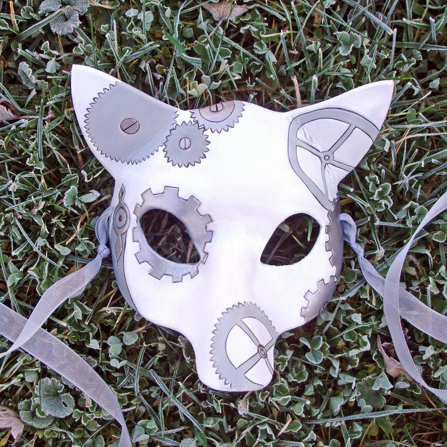 White Clockwork Fox Mask by merimask