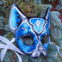 Blue Jeweled Cat Mask by merimask