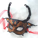 Red Jeweled Half Dragon Mask